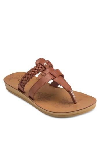 編織帶夾esprit香港門市趾平底涼鞋, 女鞋, 涼鞋