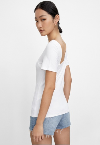 Pomelo white Sustainable Asymmetric Cut Out Top - White B1928AAD49607AGS_1