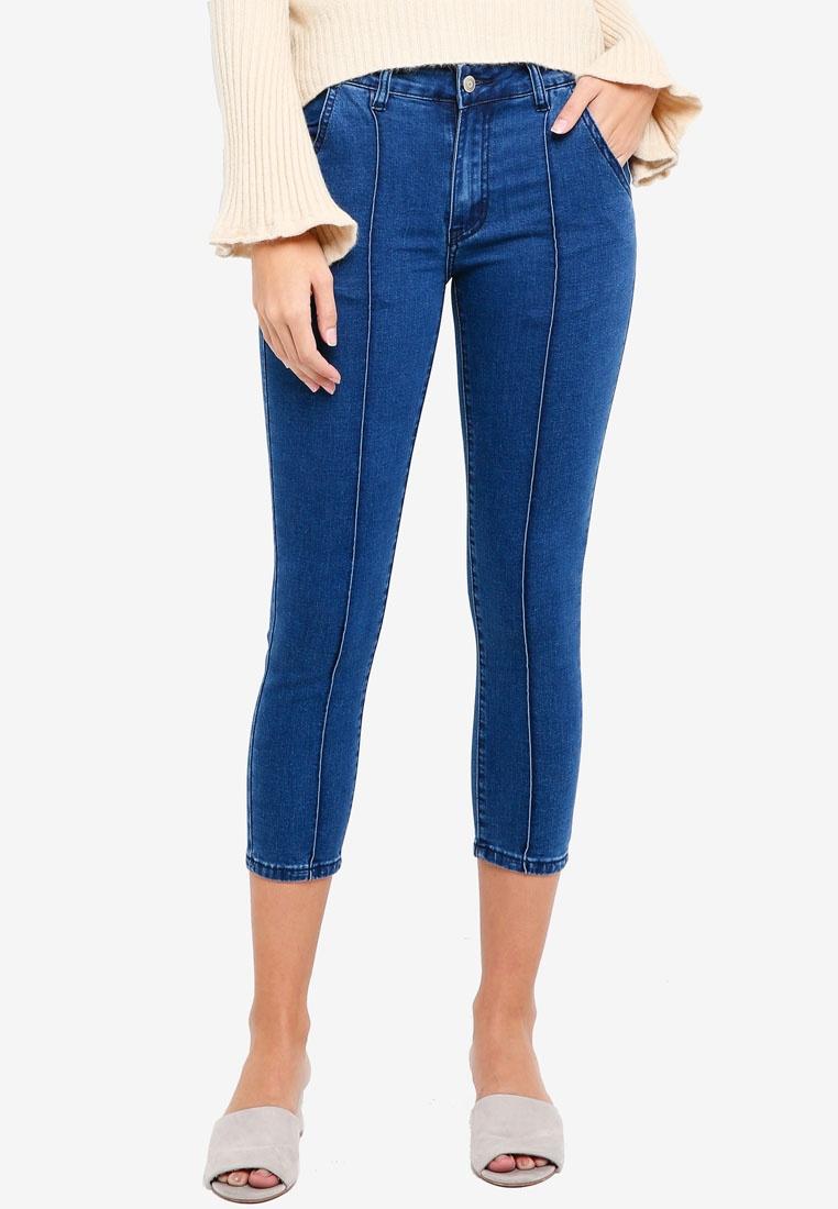 Mid Dark Blue Cropped ZALORA Line Style Jeans With Detail xn60UwYq0
