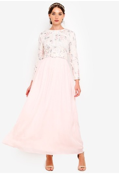 edb098e009303 Zalia pink Embroidered Floral Fit And Flare Dress 626CDAA35F2008GS 1