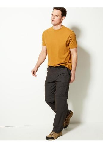 MARKS & SPENCER grey M&S Regular Fit Trekking Zip-Off Trousers with Belt E1FC8AAC57A145GS_1