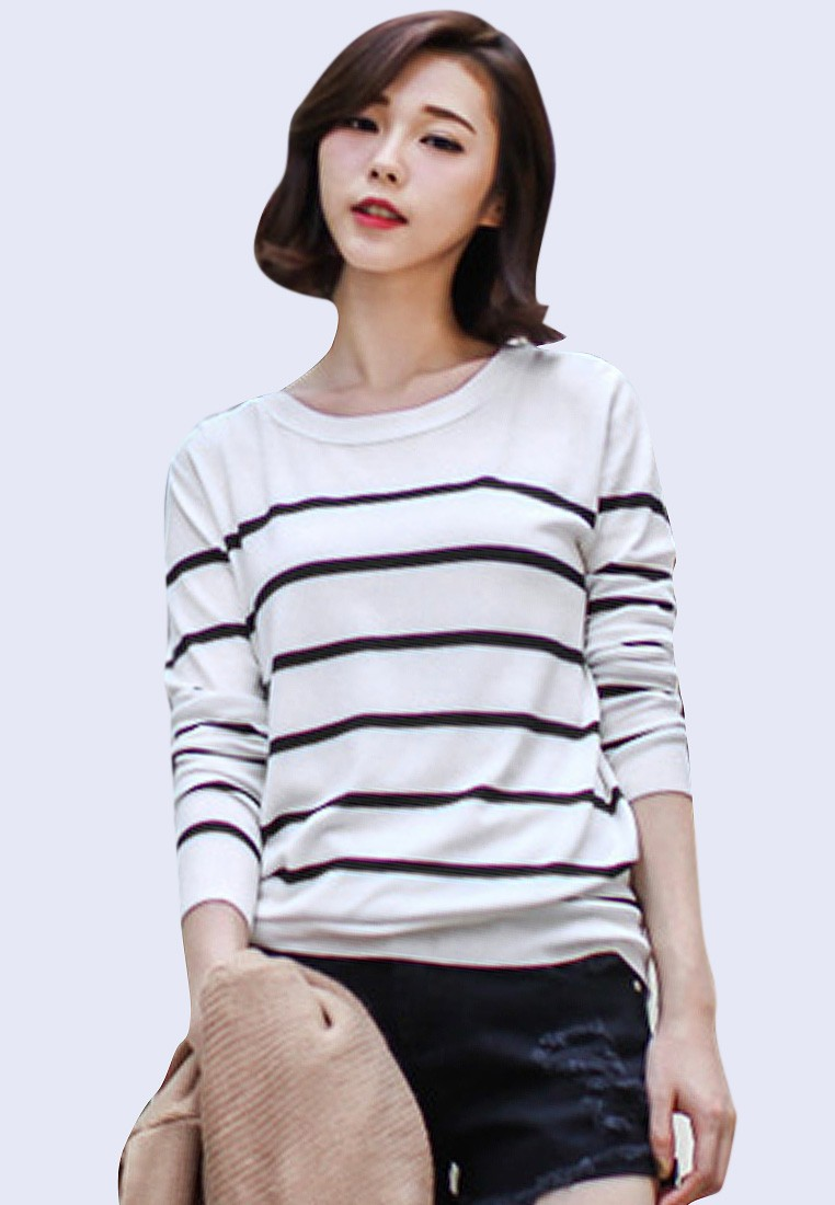 Peekaboo Back Stripes Pullover