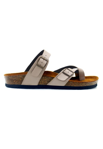 SoleSimple 米褐色 Dublin - 蜥蜴紋理米白色 百搭/搭帶 軟木涼鞋 AB743SH1624A73GS_1