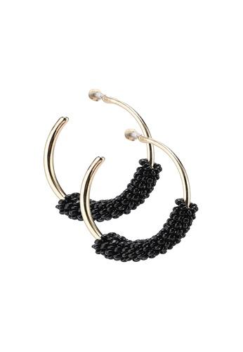 Rubi 黑色 珠珠鑽飾圓圈耳環 94105AC513AF0AGS_1
