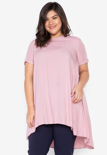 Kris Curve pink Plus Size Kenzie Assymetrical Vneck Tent Blouse D9913AAD5C7FCCGS_1
