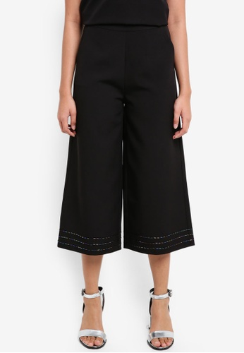 Something Borrowed black Beaded Detail Culottes 827F3AAF614C37GS_1