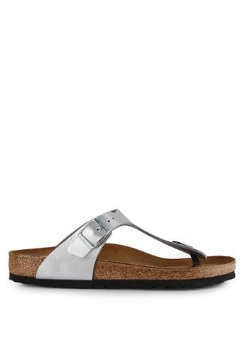 Birkenstock silver Gizeh Birko-Flor Sandals BI090SH0UCZNID_1