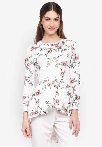 Zalia white Embroidered Lace Peplum Top A6F4FAA83A77C2GS_1