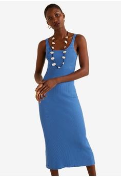 e1c67856f1ec Mango blue Ribbed Midi Dress 0A548AA3838E96GS_1