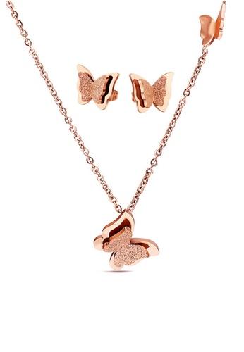 CELOVIS gold CELOVIS - Queen Alexandra Butterfly Necklace + Earrings Jewellery Set in Rose Gold CA142ACE1EA553GS_1
