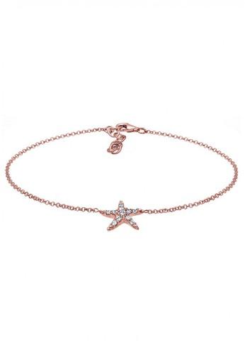 Elli Germany gold Perhiasan Wanita Perak Asli - Silver Gelang Kaki StarFish Crystal Rosegold Plated EL948AC00CNNID_1