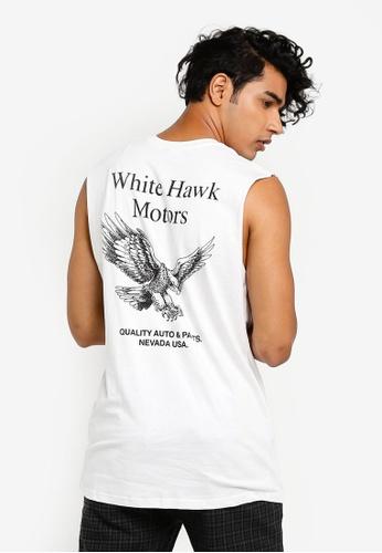 Cotton On 白色 印花坦克背心 E96D8AAAB227AAGS_1