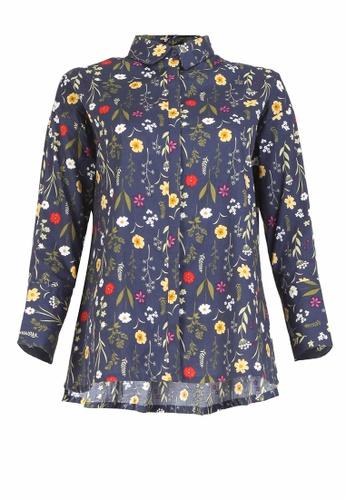 POPLOOK blue Nana Drop Shoulder Shirt 25833AA38DB210GS_1