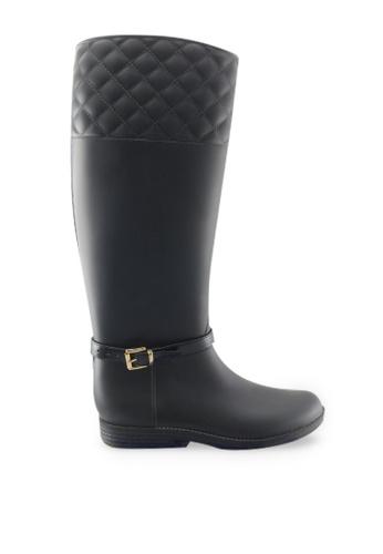 Footspot black FOOTSPOT – Checked Long Rain boots FO296SH2UMW4HK_1