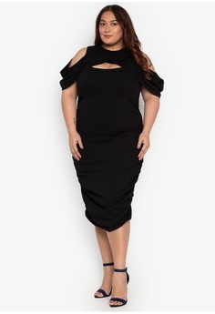 5309bf5298804 Madelaine Ongpauco Barlao. Plus Size Cold Shoulder Draped Ruched Skirt Dress