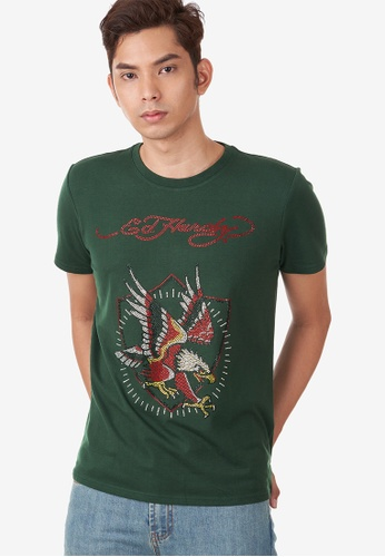 "Ed Hardy green Ed Hardy Men's ""Glory Eagle"" Full Rhinestone Round Neck Tee DE713AAA466694GS_1"