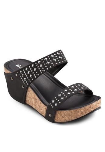 鉚esprit官網釘寬帶木製楔形鞋, 女鞋, 楔形涼鞋