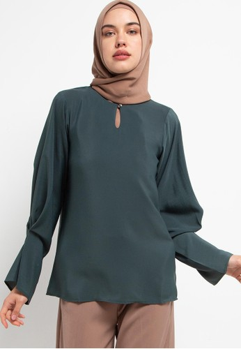 AZZAR green Aiani Blouse 25BE0AAFC65FBBGS_1