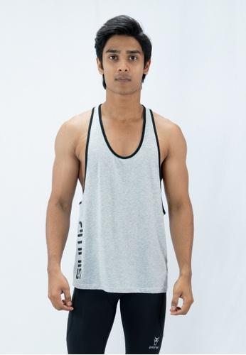 AMNIG 灰色 Amnig Men Muscle Sleeveless Tee with Contrast Binding (Grey) AM133AA37TMKMY_1
