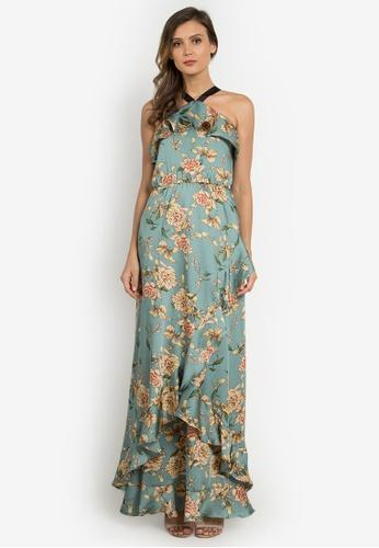 NOBASIC green Off Shoulder Maxi Printed Dress 09223AA9C57685GS_1