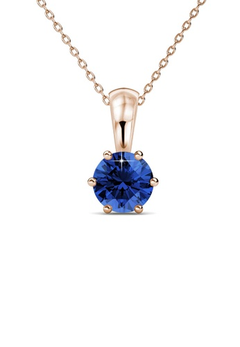 Her Jewellery blue and gold Birth Stone Pendant (September, Rose Gold) - Made with premium grade crystals from Austria BCCCEAC96A426DGS_1
