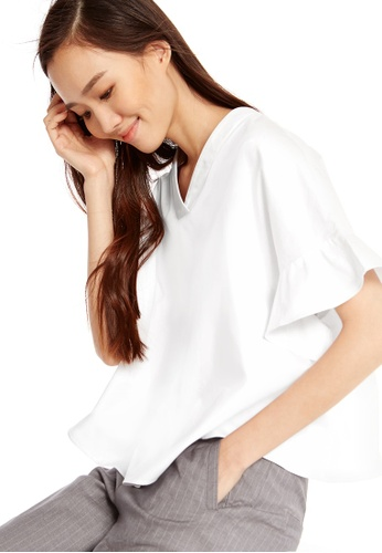 Pomelo white Soo-Young Flare Sleeve Blouse 68D90AAEB8846FGS_1