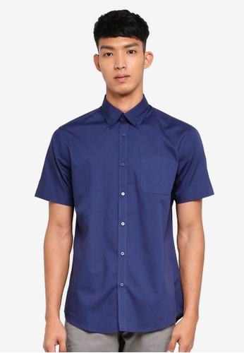 OVS 藍色 短袖口袋襯衫 CE4F3AAEB0D7C4GS_1