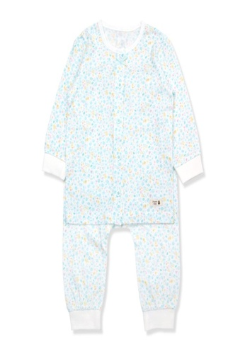 Organic mom white and green Organic Cotton Kelly Floral Lightweight Long Sleeves Pjs 3EB4DKAD3626E5GS_1