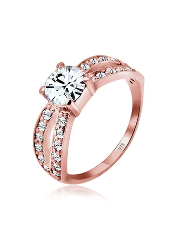 Elli Germany pink and gold Elli Germany 925 Sterling Silver Swarovski® Crystals Rose Gold-Plated Ring EL474AC0S205MY_1