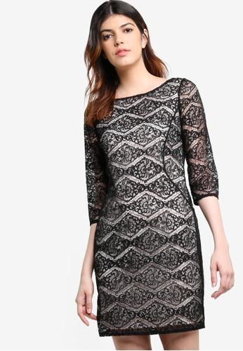 Wallis black Petite Black Diamond Lace Dress WA800AA76JVZMY_1