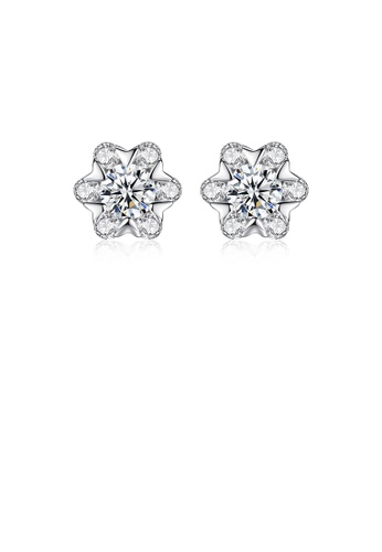 Glamorousky white 925 Sterling Silver Fashion and Elegant Flower Cubic Zirconia Stud Earrings 6382AAC1E86C5EGS_1