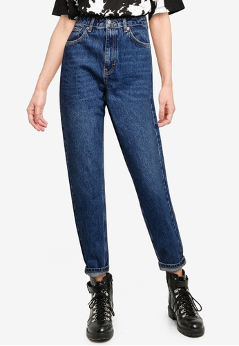 TOPSHOP blue Bright Indigo Mom Tapered Jeans D9D27AA6CA0C9EGS_1