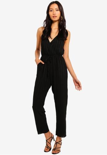 Mela London black Textured Front Wrap Jumpsuit 2D095AA10258FAGS_1