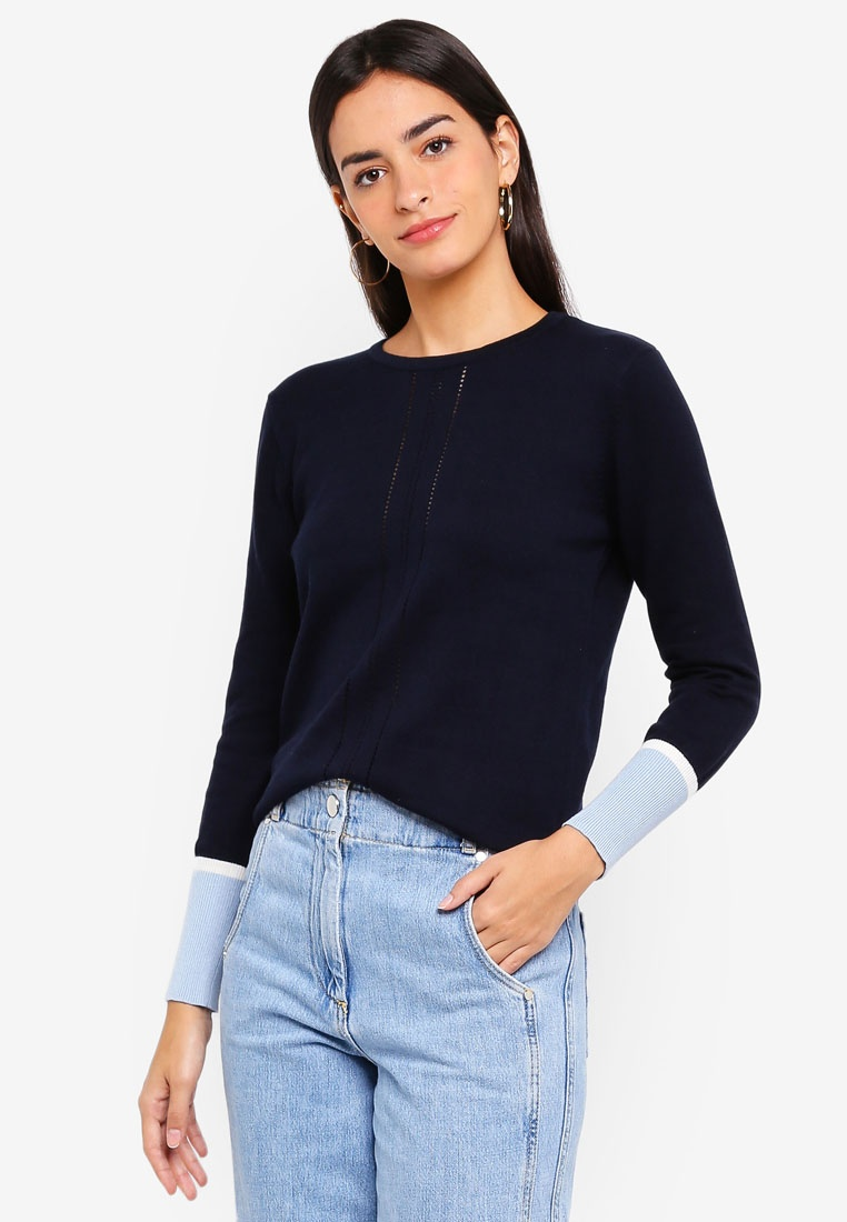 Navy Colorblocked Blue Pullover Cuff Light White ZALORA With z1Zq8cP