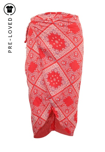 Reformation red Pre-Loved reformation Red Print Wrap Skirt 8BEB4AADE954FFGS_1
