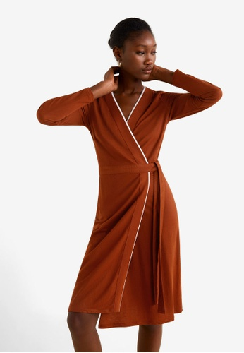 Mango brown Bow Wrap Dress C56CEAA2939C3EGS_1
