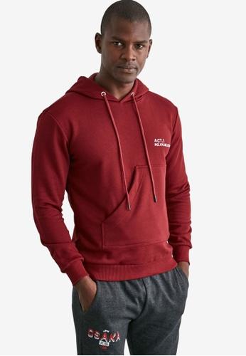 Trendyol red Long Sleeve Pocket Detail Hoodie 1302CAA342C16BGS_1