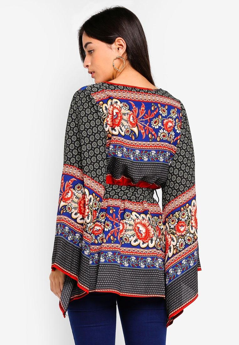 Sleeve Kimono Black MISSGUIDED Dress Wrap Printed 0ZqwPq