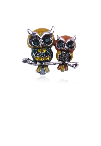 Glamorousky silver Fashion and Elegant Double Owl Brooch with Cubic Zirconia 46AE1AC9EC8FB2GS_1