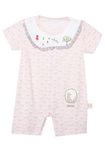 MICK + MARTY pink Printed Onesie with Detachable Bib Collar 86DABKA8AFAD2CGS_1