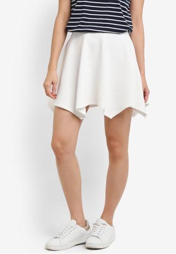 TOPSHOP white Hanky Jersey Flippy Skirt TO412AA0RI9XMY_1
