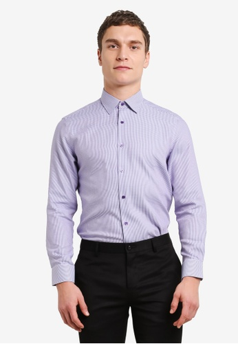 G2000 purple Houndstooth Long Sleeve Shirt G2754AA0SHAWMY_1