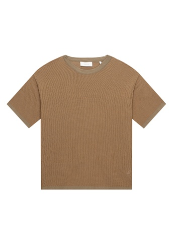 CERRUTI 1881 brown TEXTURED CREW NECK T-SHIRT E2CF6AAAE2A12DGS_1