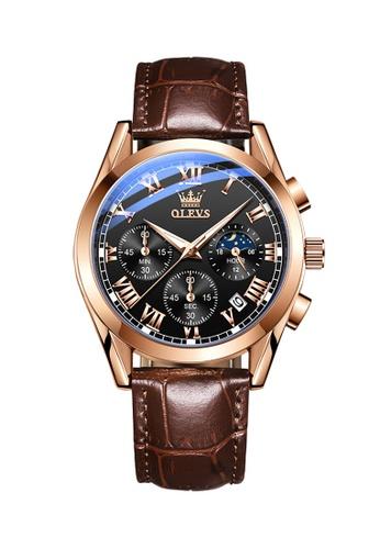 OLEVS brown Olevs Chronograph Men Wrist Watch DADE7AC5942086GS_1