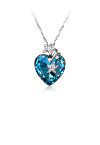 Glamorousky blue 925 Sterling Silver Fashion Star Heart Pendant with Blue Austrian Element Crystal and Long Necklace 2CF52AC54184D2GS_1