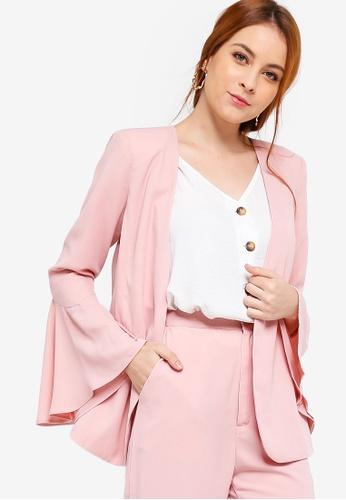 Zalia pink Basic Flare Sleeves Blazer C4656AA6DBA61AGS_1