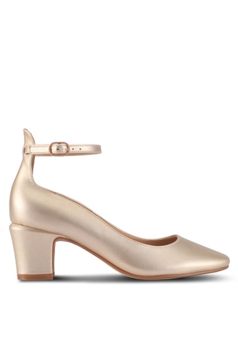 ZALORA gold Ankled Strap Square Boxed Heels ED2A7SHA20238AGS_1