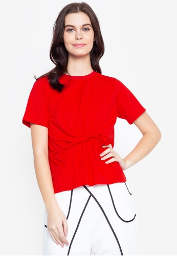 Plains & Prints red Red Currant Queslie Short Sleeves T-Shirt F57C9AAFFFBA5EGS_1