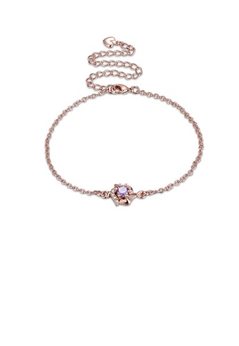 Glamorousky purple Simple and Fashion Plated Rose Gold Geometric Purple Cubic Zircon Anklet 06B12AC8F8ACB4GS_1