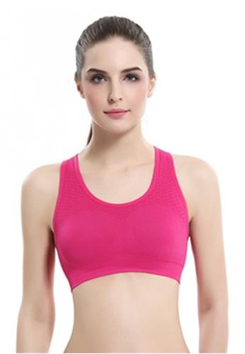 YSoCool pink Women's Padded Sports Bras Racerback Seamless Workout Gym Fit Yoga Bra 41AB5USC0FE2CFGS_1